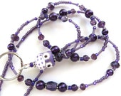 GREAT PURPLE OWL- Beaded Id Lanyard and Badge Holder- Porcelain Owl, Pearls, and Sparkling Crystals (Magnetic Clasp or Comfort Created)