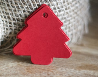 Red Christmas Tree Gift Tags - 5.5 cm x 5.5cm - Paper Gift Tags - Blank Both Sides - set of 25