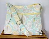 Charlotte Diaper Bag - yellow and aqua - diaper bag - adjustable strap