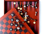 Vintage Backgammon Checkers Chess and Tic Tac Toe all 4 Games in a Wooden Box with a Board Excellent Condition Never Used Great Gift