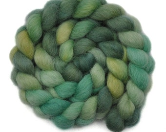 Handpainted spinning fiber - Masham wool combed top roving - 4.0 ounces - Swaying Willow