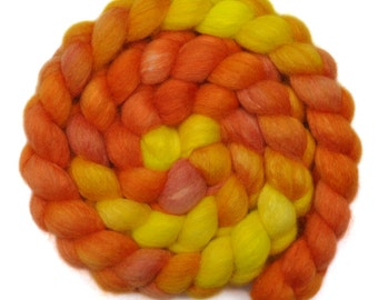 Hand painted spinning fiber - Silk / BFL wool 25/75% roving - 3.9 ounces - Balsam Sweet