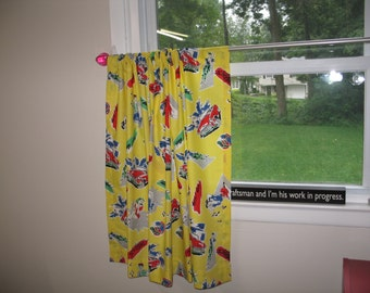 Girls and Cars Yellow Vintage Cars-Cafe Curtain-Kitchen Curtain- Rod Pocket-Single Panel Ready for Purchase