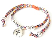 Skinny bracelet with Liberty fabric, cross charm and silver beads, meaningful girls first confirmation gift, orange and pink bracelet