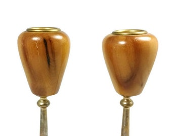 Vintage Pair of Hand Crafted Oregon Myrtlewood Candle Holders FREE SHIPPING