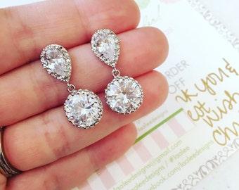 Silver Crystal Stud Earrings Teardrop Clear Jewelry - Crystal Bridal Earrings - CZ Clear Bridal Accessories Wedding Bridesmaid Jewelry