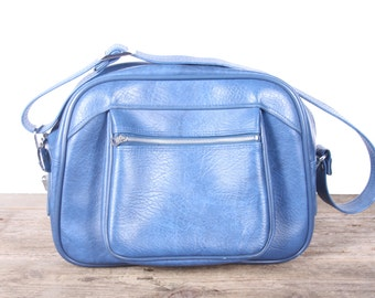 Vintage Blue Shoulder Bag / American Tourister Bags and Purses / Antique Faux Leather Bag / Suitcases Luggage / Vintage Tote Bag / Blue Bag
