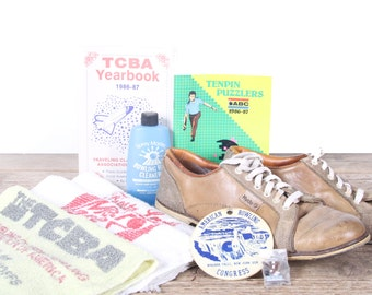 Vintage Bowling Decor / Old Bowling Gear / Bowling Shoes / Bowling Pin / TCBA Towels / Bowling Party / Bowling Decorations / Sports Room