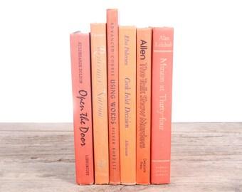 Orange Books / Old Books Vintage Books / Orange Decorative Books / Antique Books / Vintage Mixed Book Set / Books by Color Books for Decor