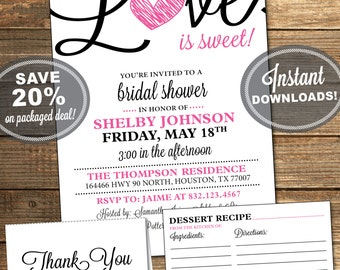Bridal Shower Package, Invitation, Recipe Card, Thank You Card, Pink, Black, Love is Sweet, Heart, Printable File (INSTANT Download)
