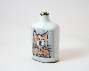 Pocket Flask with Cat