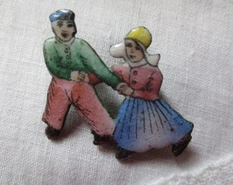 1930s Hand Painted Pastel ENAMEL DUTCH Skating COUPLE Pin