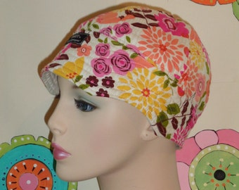 Chemo Hat SALE Cancer Cap Hair Loss Hat Floral ( For Size Guide, see 'Item Details' below photos)  SMALL/MEDIUM