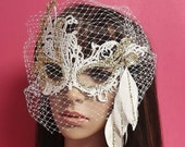 Bridal Masquerade Mask,White Gold Masquerade Mask,Birdcage Veil Mask,Feathered Mask,Tribal Masquerade Mask,