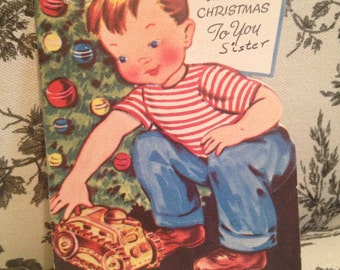 Vintage Christmas Card to Sister from Brother