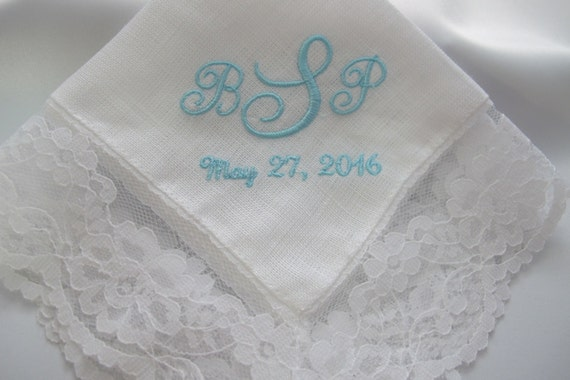 Embroidered Wedding Handkerchief Personalized for the Bride