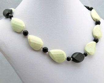 Chrysoprase & Black Onyx Necklace, Statement Necklace, Strand Necklace, Beadwork Necklace, February Birthstone Necklace