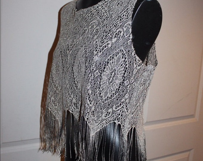 Featured listing image: Vintage Metallic Beautiful Knit with fringe boho chic glamorous rock