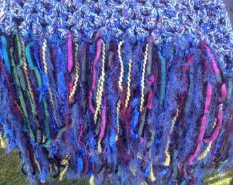 Blue Green Purple Crochet Blanket Throw Afghan with Fringe Thick Bulky Unique One Of A Kind Hippie Boho Gypsy