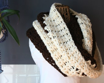 Crochet Infinity Scarf,Knit Inifinty Scarf,Cowl Scarf,Chunky Knit,Oversized Scarf,Loop Scarf,Mens Scarf,Womens Scarf,Neck Wrap,Brown,Cream
