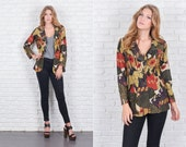Vintage 70s Metallic Gold jacket black Abstract Glam Geometric Red Striped M 5816
