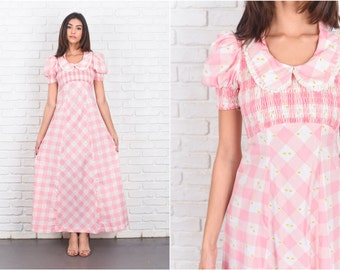 Vintage 70s Pink Boho Dress Checkered Plaid Puff Sleeve Maxi Peter Pan XS 7198 vintage dress 70s dress pink dress boho dress checkered dress