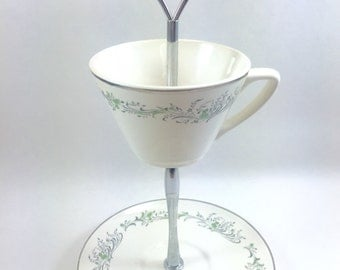 Delicate Green Blossoms Vintage Teacup Stand Jewelry Display