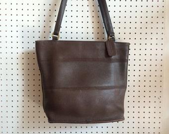 Vintage 1990s Coach Dark Brown Double Strap Shoulder Bag