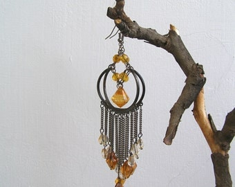 Boho Chandelier Earrings, Amber Bronze Long Hoop Earrings, 80s Bold Statement Jewelry, Crystal & Chain Big Earrings, Gypsy Hippie Fashion