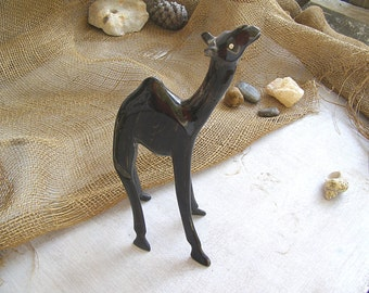 Handcarved Wood Camel Figurine, Asian Desert Bedouin Tribes Animal, Vintage Collectible Middle East Rustic Folk Art, Man Cave Bar Decor Gift
