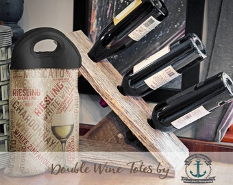 BYOB Wine Tote   White Wine Typography   Two Bottle Neoprene Wine Carrier    Bar Accessory   Custom Available
