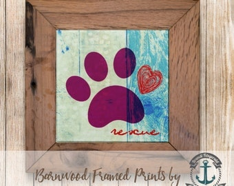 Rescue Paw Print, Purple - Framed in Reclaimed Barnwood Pet Decor - Handmade Ready to Hang | Size and Price via Dropdown