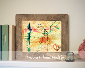 Boston Subway Map: The T - Framed Print in Reclaimed Barnwood Hometown Decor - Handmade Ready to Hang | Size & Price via Dropdown