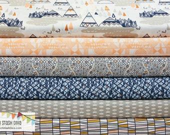 Art Gallery Indian Summer Navy FAT QUARTER Bundle (6 Fabrics Total)