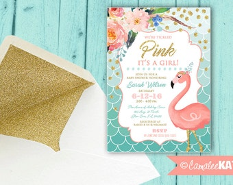 Whimsical Flamingo Baby Shower Invitation - Peach, Pink, Mint, Teal Blue, Gold Glitter - Personalized Digital file or printed invitations!