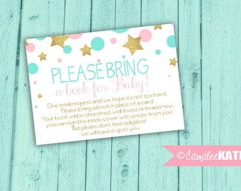"Twinkle Little Star / Books for Baby Insert Card for Baby Shower / ""Bring a Book instead of a Card"" - Printable Digital File Download"