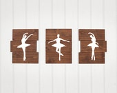 Ballerinas, Rustic Nursery Decor, Set of 3, ballet, nursery decor, Wooden decor, girl nursery decor