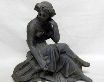 Sale Antique Art Nouveau Cast Metal Spelter Victorian Woman Figurine Statue Home Decor