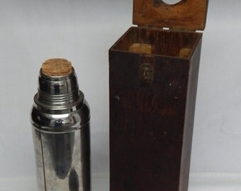 Sale Vintage Stanley Coffee Thermos Super Vac w/ Handmade Primitive Custom Wood Box
