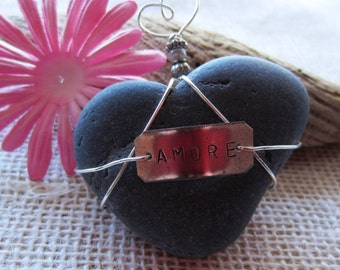 Amore  Heart Shaped Beach Stone Paperweight/ Special/ One of a Kind/ Heart Gift/Yoga