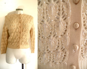 50s Cream Wool Knit Sweater with Tons of beading -  XS S
