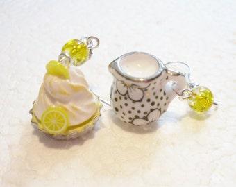 Lemon Meringue Pie And Cream Earrings. Polymer clay.