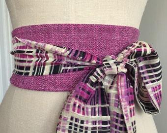 Pink tweed print obi sash, tan print pink fabric belt, reversible fuscia pink obi belt sash, waist cincher plaid obi