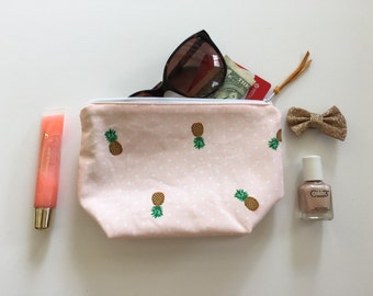 Pineapple zipper pouch, cosmetic bag