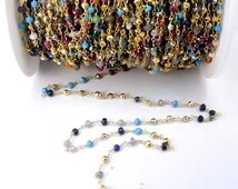 35% off Wholesale Assorted Gemstone Beaded Gold Plated wired Wrapped Gemstone Chain PER FOOT (Chn-283)
