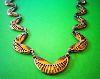 MATISSE Copper NECKLACE GOLD & black spatter enamel Stunning SEiNE Pattern Renoir Signed Vintage