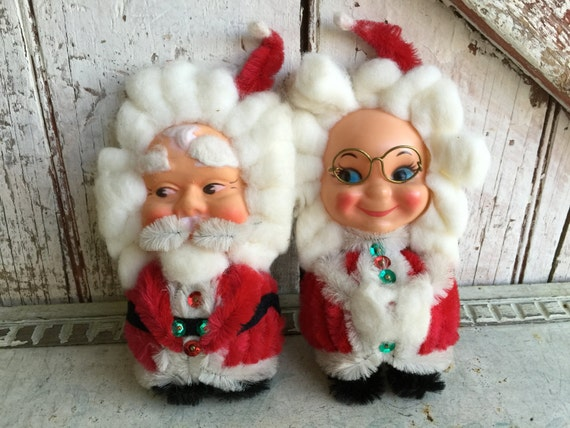 Mr mrs santa claus magnets with cotton hair and beard large