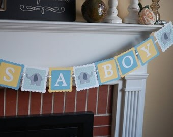Elephant It's A Boy Banner, Elephant Baby Shower Banner, Elephant Theme, Pastel Yellow, Pastel Blue