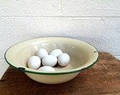 Enamel BOWL | Vintage (c. 1930s) Green and Ivory Enamelware | Light Yellow Enamel Ware | Green-trimmed Enamel Mixing Bow | Large Bowl