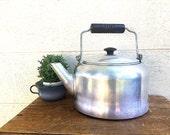 Large Aluminum TEA KETTLE | Metal Tea Pot | Vintage c.1930's Tea Kettle | Comet Aluminum Brand Stove Top Kettle | Black Wood Handle